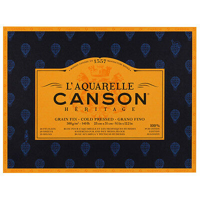Canson Heritage Watercolour Paper Block 300gsm 23x31cm 20 Sheets Col