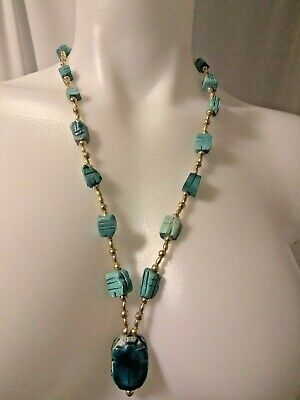 Neon Blue Scarab Egyptian Revival Glazed Pottery Faience and Gold Tone Bead 30″