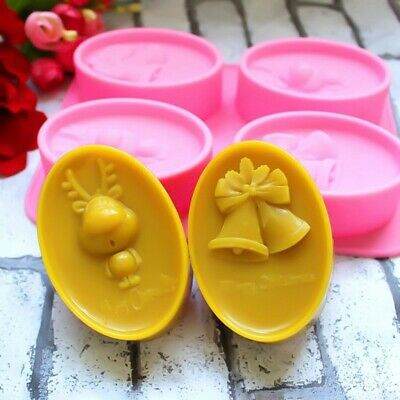 1pc Christmas Deer Bell Soap Mold Cake Mold Silicone  Candy Chocolate Mould