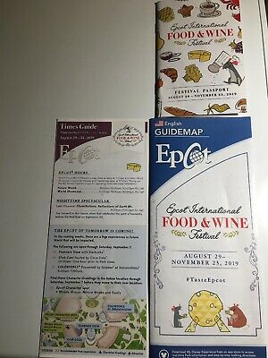 2019 EPCOT FOOD AND WINE Festival Opening Day 8/29 Guide Map Passport Disney