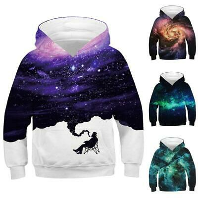 Kids Boy Girl Hoodies Galaxy Print Sweatshirt Jacket Jumper 3D Pullover Coat New