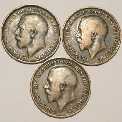 3 Date Run Heaton Mint Pennies (1912/1918/1919) - George V