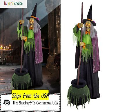 Halloween Haunted House Life Size Standing Animated Talking Witch Prop Decor 6ft