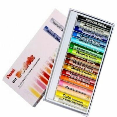 Pentel Oil Artistic Pastels - Fade Resistant - Pack of 16 Vivid Colours
