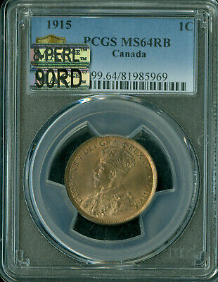 1915 Canada Large Cent Pcgs Mac Ms-64 Rb 8-Perl 90Th Red 1St Strike