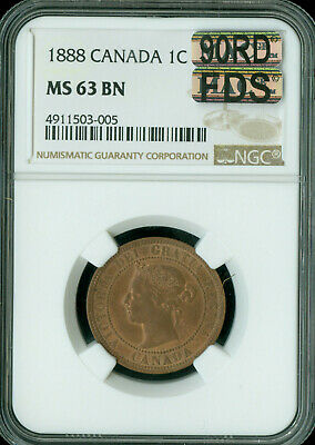 1888 Canada Large Cent Ngc Mac Ms-63 Bn 90Rd Fds 90% Red First Die Strike *