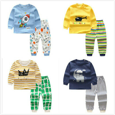 Toddler Kids Baby Boys girls Cotton T-shirt Pants Outfit pajamas Autumn Cartoon