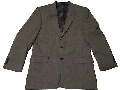 Jos A Bank Mens Suit Black Houndstooth Wool 39R Jacket 33x29 Pleated Cuffed Pant