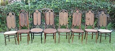 Lot of 8 Vintage Antique Bent Wood Cane Cafe Dining Stamped Thonet Chair