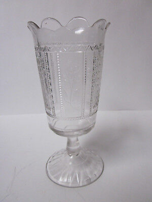 Antique Pressed Glass Forget-Me-Not Pattern Centerpiece Flower Vase