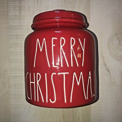 Rae Dunn redMERRY CHRISTMAS Canister Large Letter By Magenta Farmhouse New