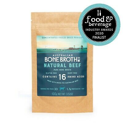 Australian Bone Broth Freeze Dried Concentrated Powder - Natural Beef 100 grams