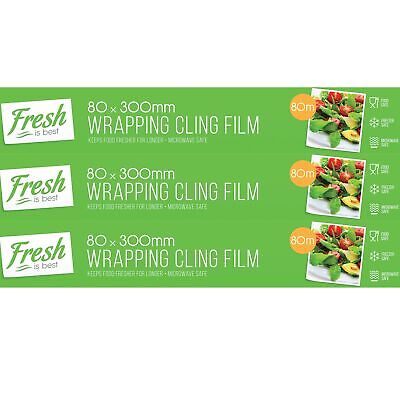 3 x 80m Kitchen Catering Plastic Cling Film 300mm Wide Fresh Food Storage Wrap