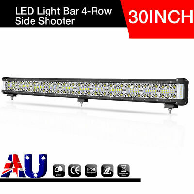 30 INCH Quad Row Cree LED Light Bar Spot Flood Beam Driving Side Shooter Offroad