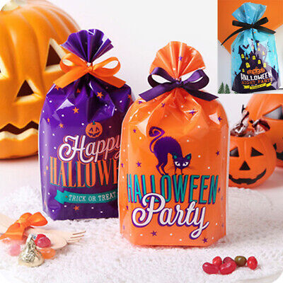 50pcs Halloween Cookies Bags Party Favour Treat Sweet Candy Biscuit Gift Packing