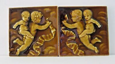 Pair Of Trent Tile Art Pottery Tiles Relief w/Winged Flying Putti Cherubs Gold