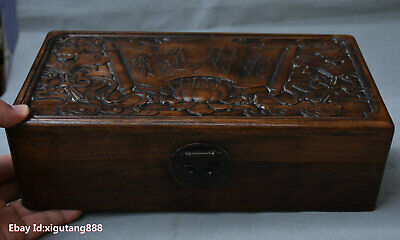 "12"" Chinese Huanghuali Wood Hand carved ZhaoCaiJingBao jewelry Storage Box Boxes"