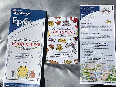 2019 EPCOT Food & Wine Festival LABOR DAY Weekend Time Guide Map Passport Disney