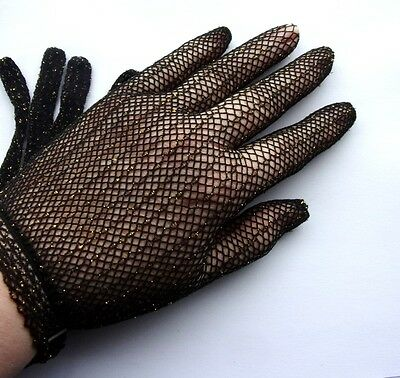 Ref. 22 - Gloves Ceremonial Net Black Glitter Gold