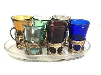 Set Of 6 Japanese Sake Shot Glasses With Glass Tray Vintage Mid 1900's Colored