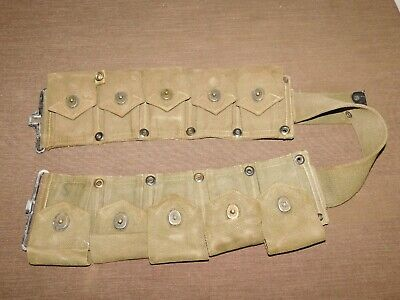 Vintage Wwii Army Garand Rifle 10 Pouch Ammo Clip Holder Belt