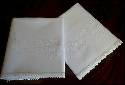 Lovely Vintage White Cotton Embroidered Pansies Pillow Cases Lace White on White
