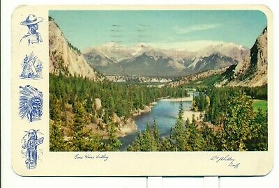 Bow River Valley From Banff Springs Hotel Vintage Postcard Posted 1957