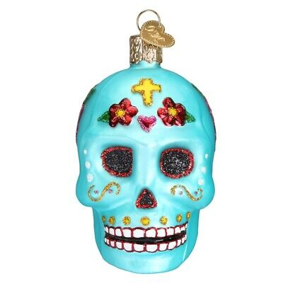 Old World Christmas Day of the Dead Sugar Skull Glass Ornament 26069 FREE BOX