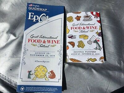 2019 EPCOT Food & Wine Festival Guide Map and Passport Disney World WDW