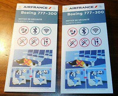 2 Safety instruction card CONSIGNE NOTICE de SECURITE air france BOEING 777-300
