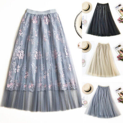 Tulle Skirts Womens Pleated Skirts Elastic High Waist Mesh Tutu Princess Dress