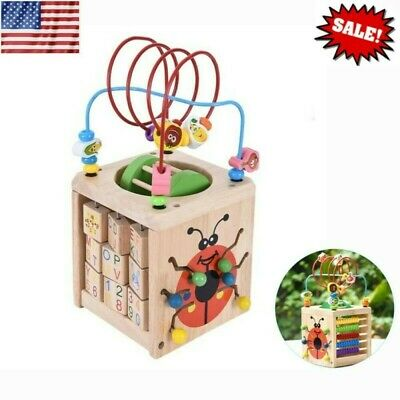 Children Wood Early Educational Toys Fun Multi-Function Activity Box Beaded Maze