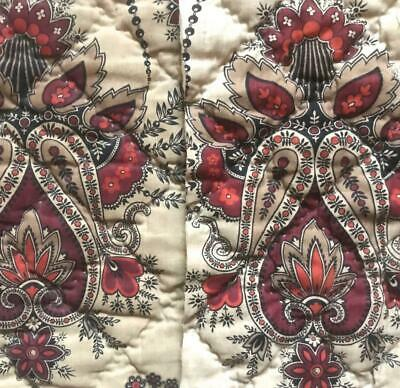 c1840s  2 BEAUTIFUL FRAGMENTS 19th CENTURY BLOCK PRINT MADDER QUILTED PANEL, 511