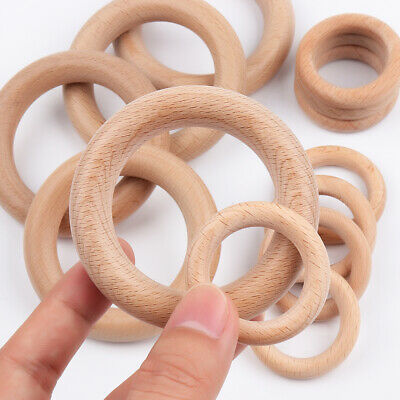 10X Natural Wooden Baby Teether Ring Teething Rings Wood Craft Chewing Round DIY
