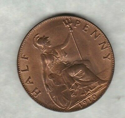 1910 Edward Vii Half Penny In Near Mint Condition