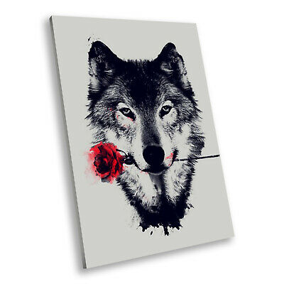 Animal Portrait Modern Canvas Picture Print Wall Art Wolf Red Rose Abstract