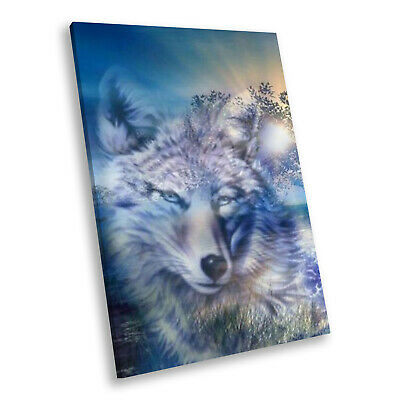 Animal Portrait Modern Canvas Picture Print Wall Art Wolf Abstract Blue Black