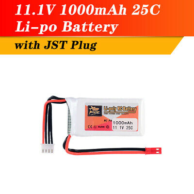 ZOP Power 11.1V 1000mAh 25C 3S Lipo Battery JST Plug For RC Racing Drone Boat