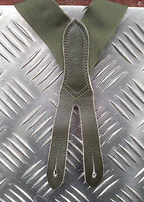 Genuine German Army Green Elastic Braces with Leather Buckles Adjustable Size M