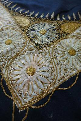 Antique Ottoman raised couched goldwork metallic hand embroider black tablecloth