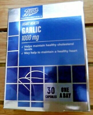 90 tablets (3 months) boots GARLIC 1000mg cholesterol heart health BB 2021