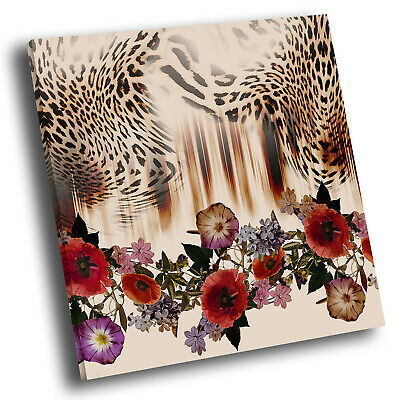 Red Rose Leopard  Abstract Square Canvas Picture Modern Wall Art Print