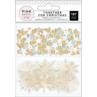 Together For Christmas Mixed Embellishments-acetate W/gold Foil & Sequins