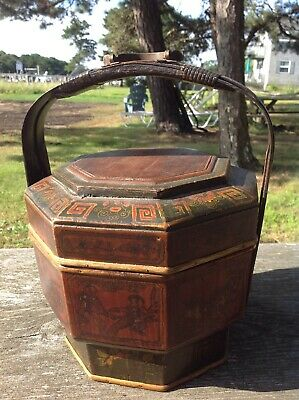 Vintage Antique Chinese Wedding Rice Wood Basket Bucket Hand Painted  10.5x14