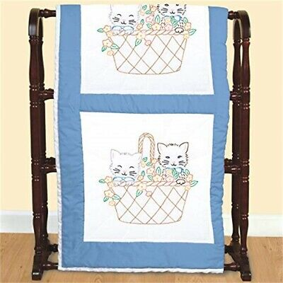 "Jack Dempsey Stamped White Quilt Blocks 18""x18"" 6/pkg-kittens In A Basket"