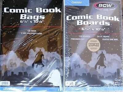 (100) Bcw Current / Modern Comic Book Size Bags / Covers & Backing Boards