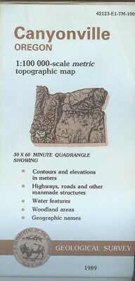 USGS Topographic Map CANYONVILLE Oregon 1989 - 100K