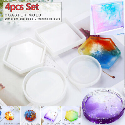 4x Silicone Coaster Mold Resin Casting Jewelry Making Epoxy Mould Craft Tool DIY