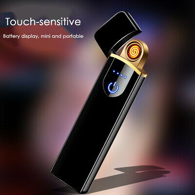 Cigarette Lighter Windproof Flameless Plasma Double Touch Sensor Electric USB 1x