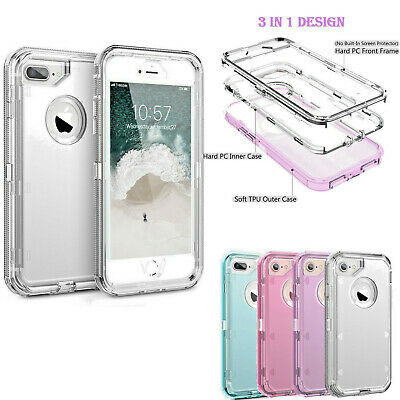 Clear Defender Transparent Case Heavy Duty For iPhone 6 7 8 Plus X XR XS Max